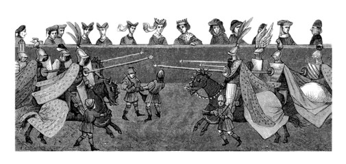 Medieval : Joust - Joute - 15th century Wall mural