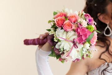 Bridal wedding bouquet of flowers on wedding day