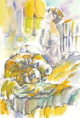 woman and sleeping dog
