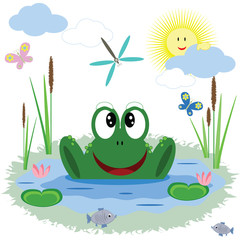 Funny frog, vector.