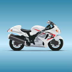 Photo on textile frame Motorcycle Vector motorcycle on blue background