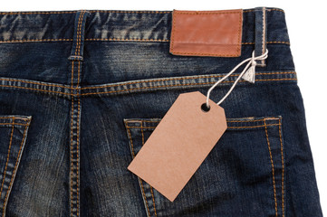 Blue jeans detail blank tag paper jeans label