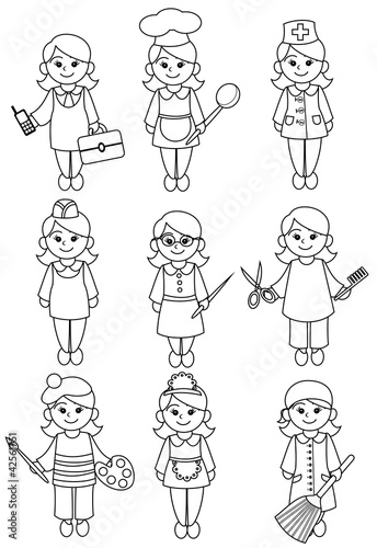 Line Art Jobs : Quot women representatives of professions black and white