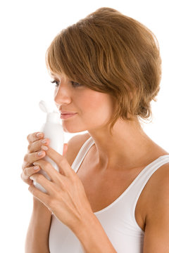 Woman with body lotion