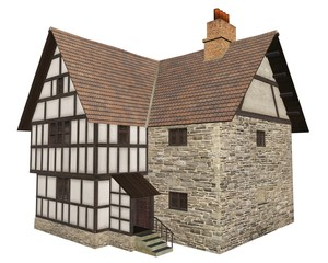 Fototapete - Illustration of Medieval Country House Isolated on White - 1