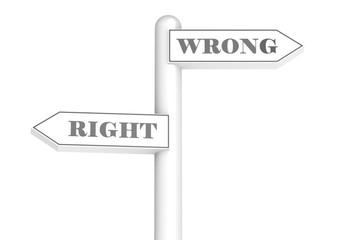 Right and wrong signpost