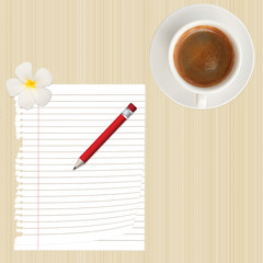pencil,paper,flower and coffee cup on wood background