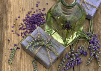 essential lavender oil and herbal soap