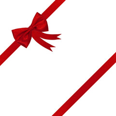 red ribbon gift bow present isolated on white