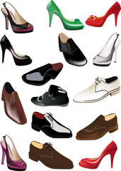 man and woman shoes collection