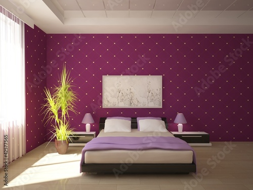 Violet Bedroom Design Stock Photo And Royalty Free
