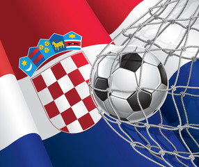 Soccer Goal. Croatia flag with a soccer ball in a net.