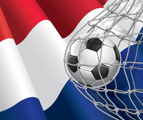 Soccer Goal. Netherlandish flag with a soccer ball in a net.