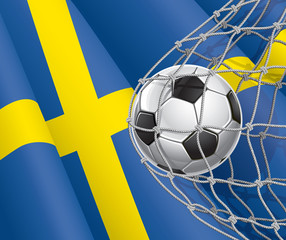 Soccer Goal. Swedish flag with a soccer ball in a net. Vector il