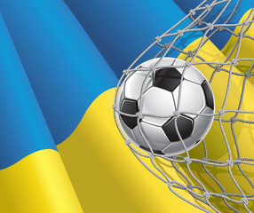 Soccer Goal. Ukrainian flag with a soccer ball in a net.