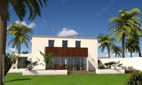 3d villa mit flachdach stockfotos und lizenzfreie bilder for Villa flachdach
