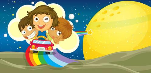 Door stickers Rainbow kids driving car
