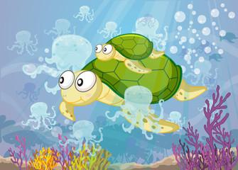 Poster Submarine tortoise in water