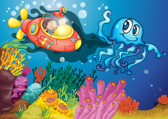 Printed roller blinds Submarine octopus and kids in submarine