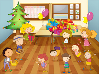 kids dancing in classroom