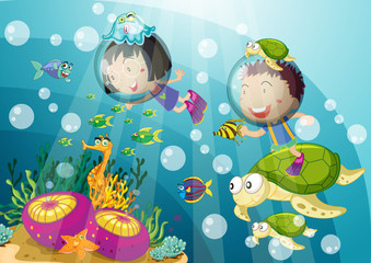 Poster Submarine tortoise and kids in deep water