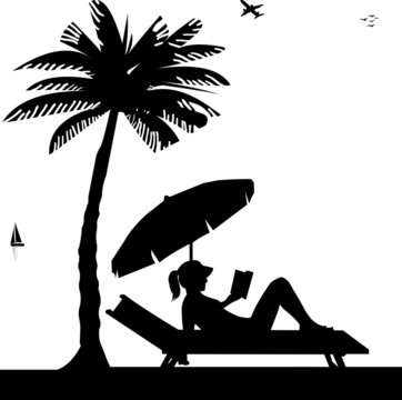 Silhouette of girl reading a book on the beach next to the palm