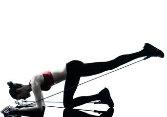 woman exercising gymstick