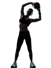 Wall Mural - woman exercising fitness ball workout  workout