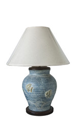 CLIPPING PART. Classic blue table lamp on white background.