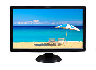 Television showing a tropical beach isolated on white