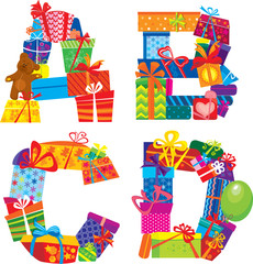 ABCD - english alphabet - letters are made of gift boxes