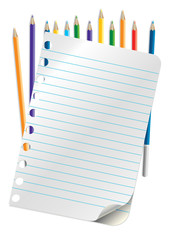 sheet of paper and pencil colors of the rainbow
