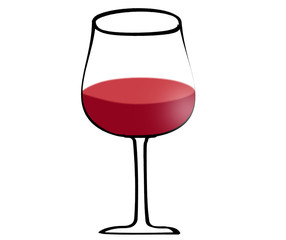 Illustration of red wine in glass isolated on white background