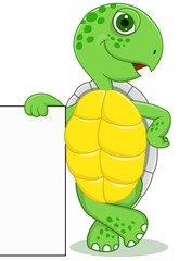 Turtle cartoon with blank sign