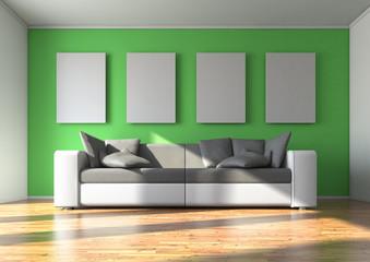 Sofa mit 4 Wandbildern / Tapete grün