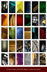various colorful cards with modern architecture details
