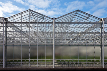 Front view of a newly build greenhouse