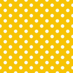 Polka dots on yellow background retro seamless vector pattern - 42620921