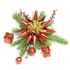 Red and gold christmas decoration with green branch