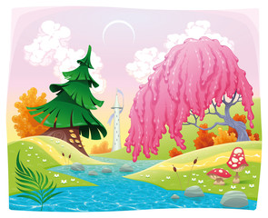 Garden Poster Magic world Fantasy landscape on the riverside. Vector illustration.