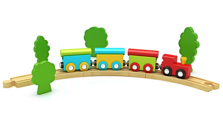 Wooden toy train isolated on a white background