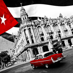 Poster Red, black, white Cuba (n&b)