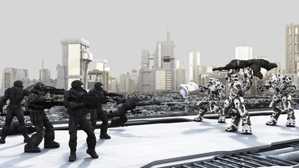 Space Marines and Combat Droids Battle in a Futuristic City