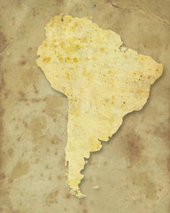 South america paper map