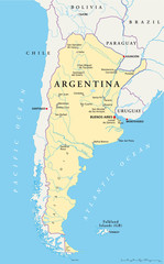 Argentina political map with capital Buenos Aires, national borders, most important cities, rivers and lakes. Illustration with English labeling and scaling. Vector.