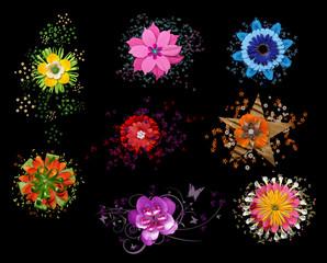 Blumen verziert Stern Flowers Stars Scrapbooking