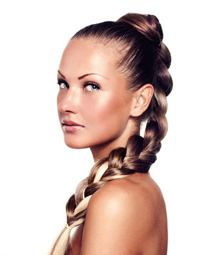 young woman with long natural mixed color braid