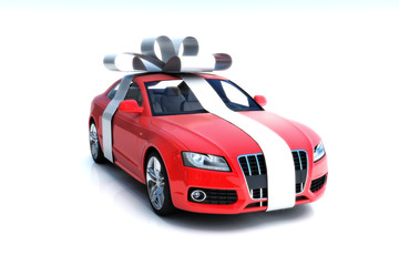 The big gift, Luxury car with silver bow