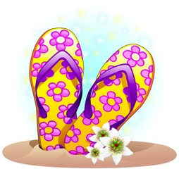 Ciabatte Infradito decorate-Flip flops For the Beach-Vector
