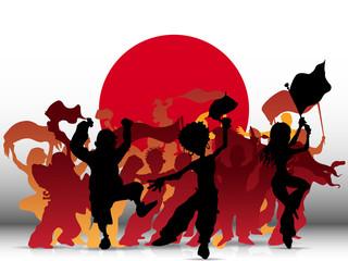 Japan Sport Fan Crowd with Flag